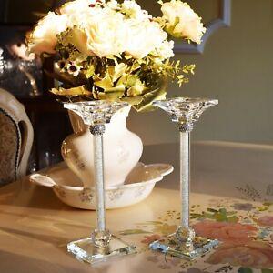 Set of 2 Crystal Cut Tea Light Candle Holder Diamante Wedding Birthday Gift &Box