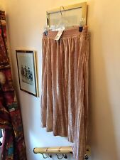 New H&M Beige Textured Velvet Look A-Line Skirt, Medium
