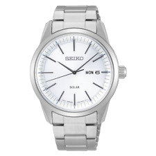 Seiko Mens Solar Powered Analogue Quartz Watch with Stainless Steel Strap SNE...