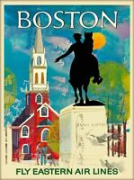 Boston Massachusetts Vintage Travel Advertisement Art Poster Print