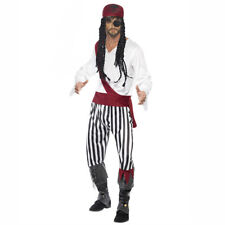 Mens Pirate Caribbean Buccaneer Fancy Dress Costume Adult Christmas Outfit