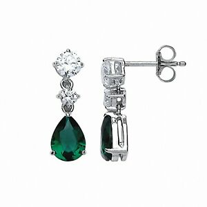 Sparkling Emerald Drop Earrings Solid Sterling Silver Rhodium Plate 925 Hallmark