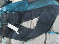 womens/girls blue denim bootcut jeans - Next - size 10L - gem detail - New