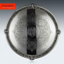 More details for antique 19thc victorian solid silver salver, hunt & roskell, london c.1873