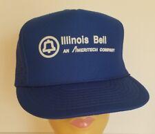 Vtg Illinois Bell Ameritech Snapback Trucker Hat Cap Otto Blue Mesh