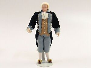 Miniature Porcelain Colonial Gentleman Dollhouse Doll Artisan Crafted E595