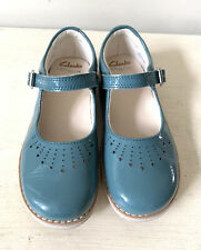 Clarks Girls Shoes 10.5 F Crown Jump Patent Mary Janes Smart Casual Traditional