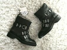 ZARA BLACK LEATHER BIKER ANKLE BOOTS WITH BUCKLES AND FAUX FUR LINING UK 4 EUR37