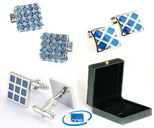 Blue Multi Diamond Stone & Blue Checker Design Cuff-links + Pouch Or Gift Box