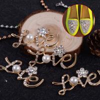 10pcs LOVE with Flower Embellishments Crystal Pearl DIY Flatback Craft Wedding