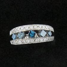 NYJEWEL Sophia Fiori Amazing 14k W Gold 1.5ct Blue & White Diamond Band Ring