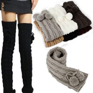 New Women Winter Warm Leg Warmers Cable Knit Knitted Crochet Long Socks