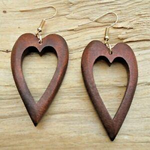 Love Heart Cutout Wooden Dark Brown Hook Earrings 4.5cm x 2.5cm NEW