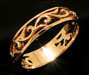 R062 Genuine 9K, 10K,14K or 18K Gold Scroll Wedding Band Friendship Ring yr size