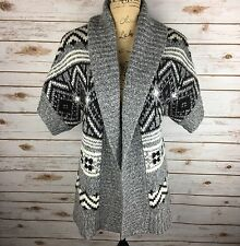 OLD NAVY Women's Size Small Gray & Black Short Sleeve Wool Cardigan Sweater