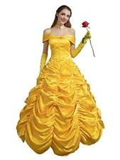 CosFantasy Princess Belle Cosplay Costume Ball Gown Fancy, Golden, Size Women M
