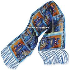 Laurel Burch Silk Neck SCARF Wrap Indigo Cat Portraits Fringe New