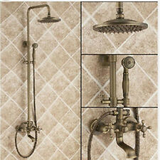 Antique Brass Rain Bathroom Shower Set Faucet W/Tub Faucet Mixer Tap Wall Mount