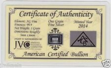 AÑO 2014 CERTIFICADO Lingote plata pura 99,9 - One Grain Fine Silver / 1 GRAIN