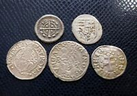 HUNGARY / 5 x MEDIEVAL SILVER COINS LOT 11./ 1100 -1600 years