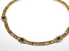 Halschmuck/Collier 585 Gelbgold, Brillant 0,90 Carat, Rubin, Safir, Smaragd