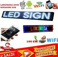 TABELLA RGB INSEGNA LUMINOSA A LED WIFI SCRITTA PERSONALIZZATA USB SCORREVOLE