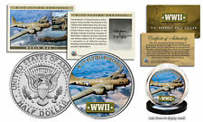 WWII * B-17 Flying Fortress Plane * JFK Kennedy Half Dollar US Coin w/ Fact Card