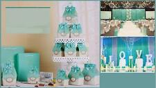 50x Blue Candy Boxes Party Favors BagWedding Box Sweets Party Gift Bags w/Bow