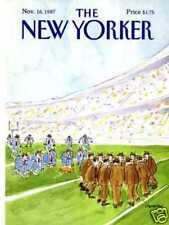 New Yorker COVER 11/16/1987  Suit Football STEVENSON