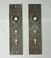 2 Antique Victorian Eastlake Aesthetic Ornate Double Key Door Plates Backplates