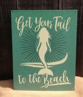 Get Your Tail To Beach Mermaid Metal Sign Tin Ocean Wall Garage Rustic