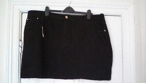 "BNWT-  River Island - Black denim skirt, raw hem, plus size UK 28, length 19"""