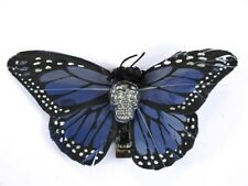 Hairy Scary Blue & Silver Large Kahlovera Skull Butterfly Feather Hair Clip