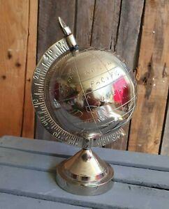 Globus 29 cm Metall Silber Weltkugel Tischglobus Welt EDEL Deko Schreibtisch