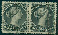 CANADA #21 ½¢ black pair, used, VF, Scott $150.00+