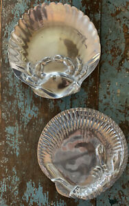 Beautiful Pr Beach Nautical Theme PEWTER Shrimp and Crab Serving Plates Tray