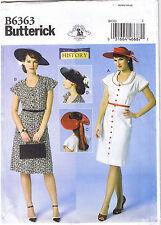Vintage 40s Retro Button Front Dress Sun Hats Sewing Pattern Plus 14 16 18 20 22