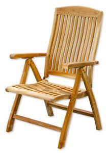 KMH® Teak Hochlehner Gartenstuhl Klappstuhl Gartenstühle Gartensessel Holz Stuhl