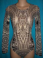 SHEER Abstract Tribal Geometric Art Tattoo Leotard Bodysuit Raver Club Kid XS