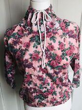 Small Cowl Tie Neck Turtleneck Long Sleeve Shirt Floral Jacket Sweatshirt Vintag
