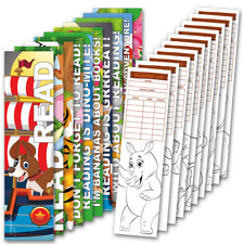 30 Assorted Coloring Bookmarks with Reading Logs (10 designs, 3 each)
