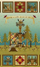 Build each other Up  Moose Woodland 24 inch panel Leanne Anderson cotton print