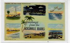 GREETINGS FROM THE JACKSONVILLE BEACHES: Florida USA multiview postcard (C30729)