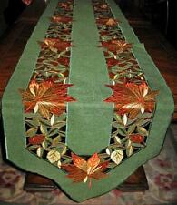 Autumn Leaves Table Runner Sage Green Embroidered Thanksgiving Fall Decor 70x13