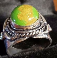 SILVER GREEN TURQUOISE GEMSTONE RING