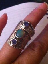 Ethiopian Wela Opal Elongated Sterling Silver Ring. Sz 6.(2.17cts)