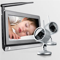 "2.4Ghz 7"" IR Wireless Baby Monitor Night Version Audio and Video With 2PC Camera"