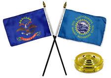 "North Dakota ND w/ South Dakota SD State Flags 4""x6"" Desk Set Table Gold Base"