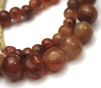 "20"" STRAND OF RARE SMALL GRADUATED OLD BANDED CARNELIAN AGATE EYE ANTIQUE BEADS"