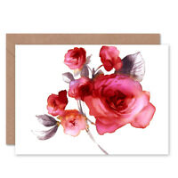 Flower Roses Watercolour Card With Envelope